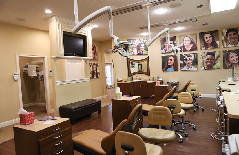 Row of orthodontic treatment chairs