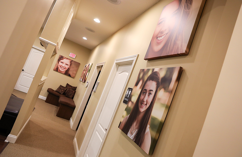 Hallway with real patient images
